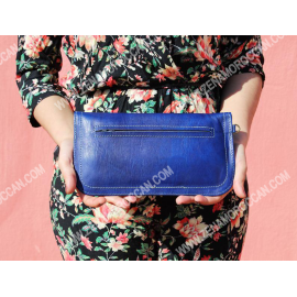 Moroccan Leather Wallet Women's blue