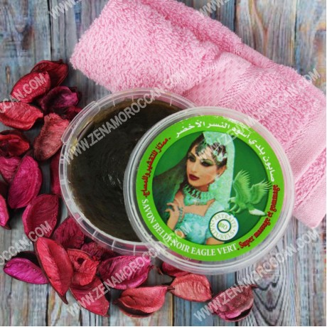 Moroccan Black soap for peeling with olive oil and rose oil